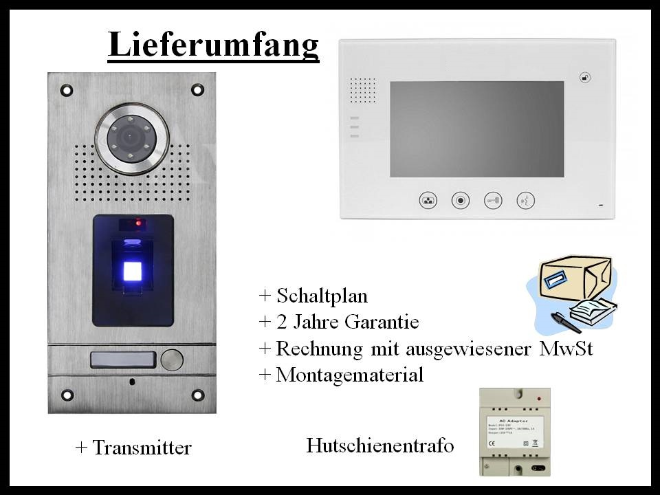 Video-Türsprechanlage-Fingerprint-mit-weissem 7 Zoll Monitor