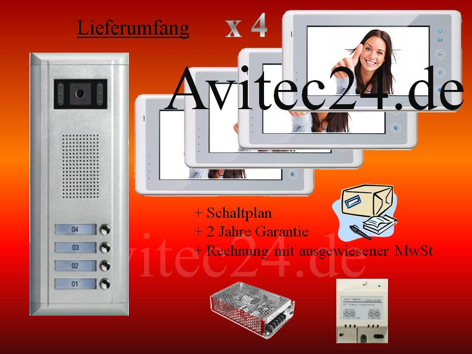 video t rsprechanlage 4 familien 2 draht technik sony ccd 7 zoll monitore avitec. Black Bedroom Furniture Sets. Home Design Ideas