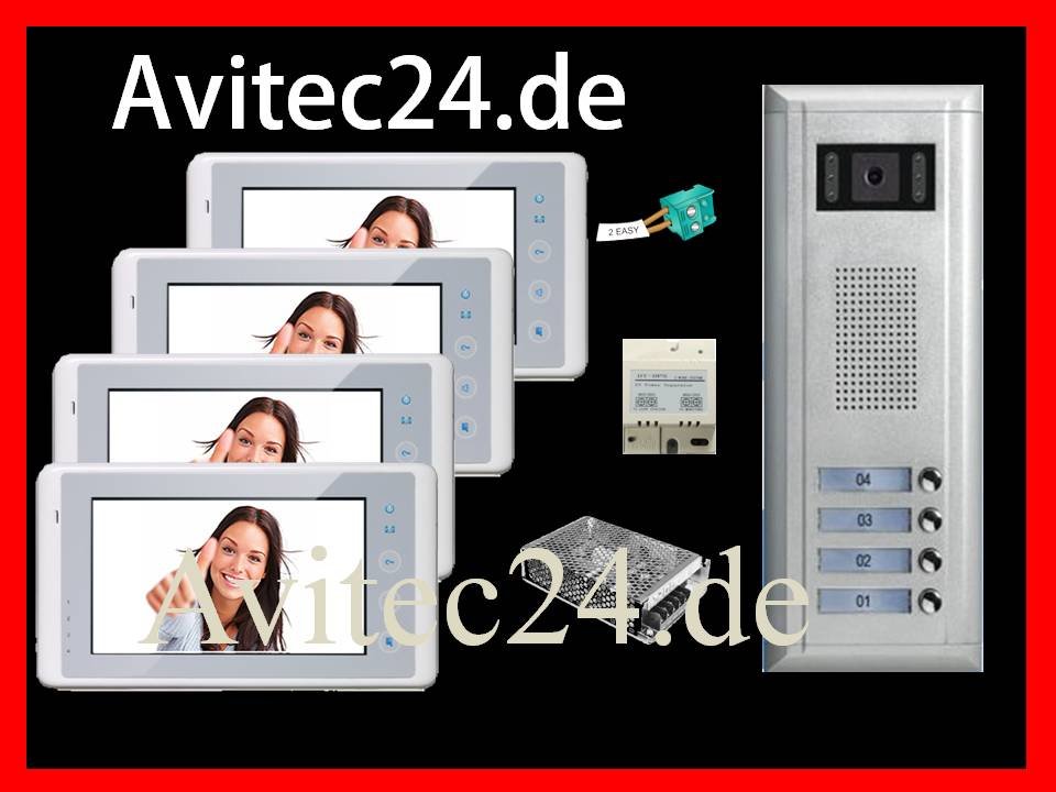 video t rsprechanlage 4 familien 2 draht technik sony ccd 7 zoll monitore avitec. Black Bedroom Furniture Sets. Home Design Ideas