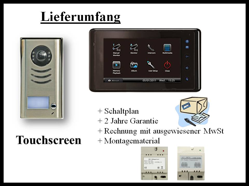 video t rsprechanlage mit 7 touchscreen monitor komplettset. Black Bedroom Furniture Sets. Home Design Ideas