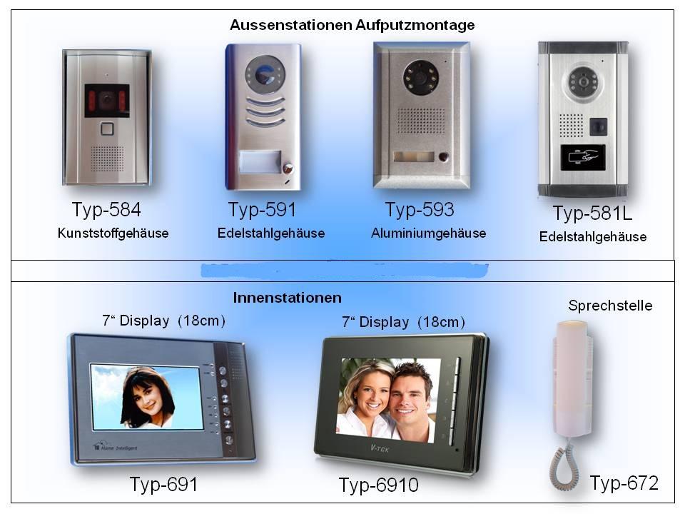 Video Türspechanlage mit Bildspeicher, Aussenstationen und Monitore verschiedene Designs