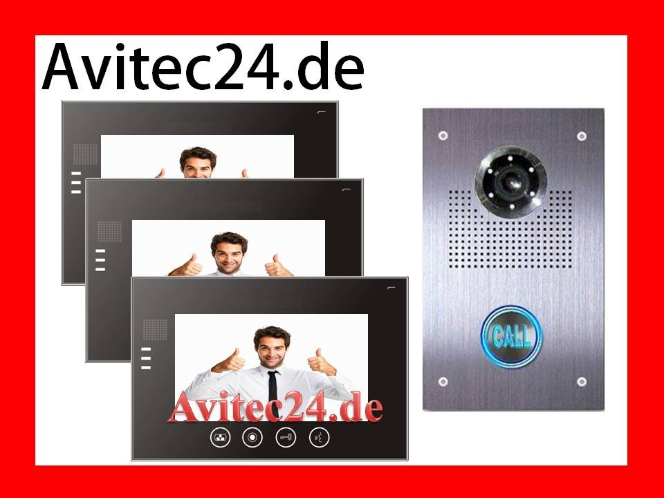 villa video t rsprechanlage 3 x 7 zoll superflache 23mm touchscreen monitore avitec. Black Bedroom Furniture Sets. Home Design Ideas