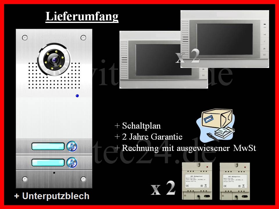 t rsprechanlage sprechanlage 2 familien mit 2x7 monitor vt562 2xvt32 avitec. Black Bedroom Furniture Sets. Home Design Ideas