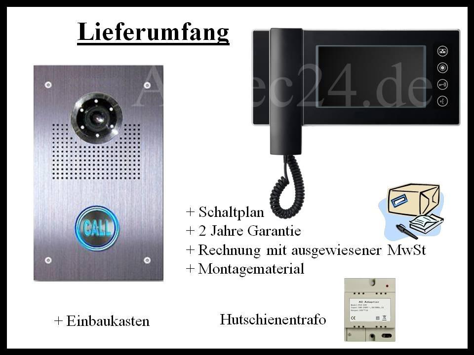 Video Türsprechanlage Lieferung mit Einbaukasten und Video Innenstation