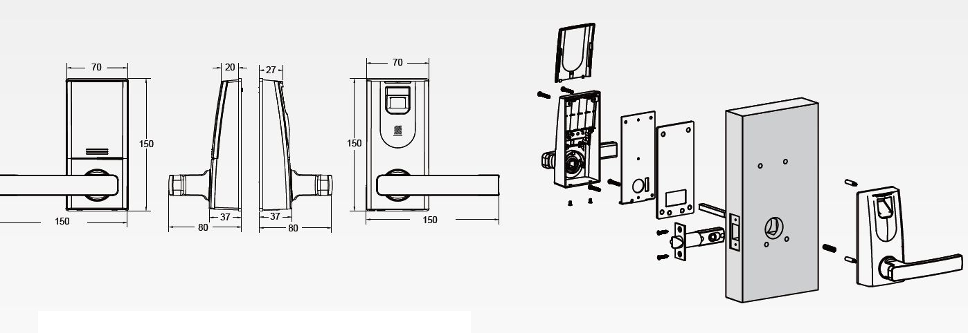 fingerprint t r ffner fingerprint t rschloss rfid aus edelstahl. Black Bedroom Furniture Sets. Home Design Ideas